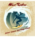 Wave Riders surfing label vector image vector image