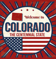 welcome to colorado vintage poster vector image