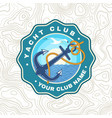 yacht club patch concept for shirt print vector image vector image