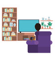 young man sitting in the livingroom avatar vector image vector image