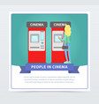 young woman buying tickets in cinema automatic vector image