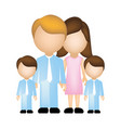 color silhouette faceless with dad mom and two vector image
