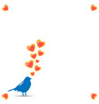 a spring card with a silhouette of a bird of blue vector image