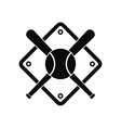 Baseball bats and ball on baseball field vector image vector image