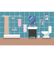 bathroom interior with shower in blue colors in a vector image