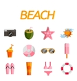 Beach flat icon set vector image vector image