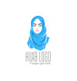 beautiful woman wearing blue hijab icon hijab vector image vector image