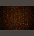 binary code golden background big data and vector image vector image