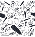black and white seamless food pattern vector image vector image