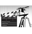 black movie clapperboard and camera vector image vector image