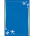 blue frame with texture and snowflakes vector image vector image
