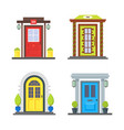 cartoon color front door of house icon set vector image