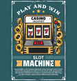 casino gambling club slot machine vector image vector image