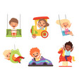 children amusement park happy kids sitting and vector image