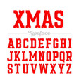 christmas style font xmas alphabet vector image