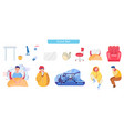 common cold flat set vector image vector image