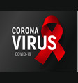 coronavirus poster red ribbon on black vector image vector image