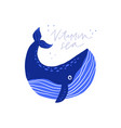 cute whale flat with text vector image vector image
