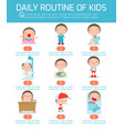daily routine of happy kids infographic vector image