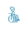 disabled wheelchair user linear icon concept vector image