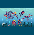 divers collecting trash into basket underwater vector image vector image