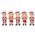 five happy children singing christmas carols vector image vector image