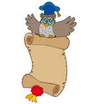 flying owl lector with parchment vector image vector image