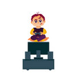 funny boy playing game console on tv with joystick vector image vector image