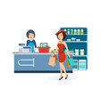 girl produce shopping the store holding the bag vector image