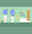 green bathroom with furniture vector image