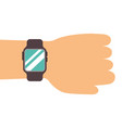 hand with smartwatch technology online vector image vector image