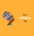 happy africa day banner animal print woman