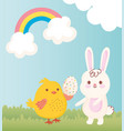 happy easter chicken with egg and rabbit grass vector image vector image