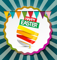 Happy Easter Retro Label Background with Flags and vector image vector image