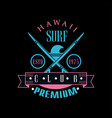 hawaii surf club premium estd 1975 logo template vector image