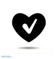 heart black icon love symbol check mark in vector image