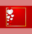 heart shape and golden frame with copy space on vector image vector image