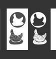 hen chicken vintage logo retro print poster vector image vector image