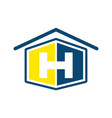 initial letter h with house shape in blue and vector image vector image