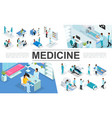 isometric medicine elements collection vector image vector image