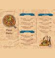 italian pizza restaurant menu template vector image vector image