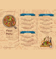 italian pizza restaurant menu template with vector image vector image