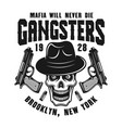 mafia emblem with gangster skull in hat on white vector image vector image