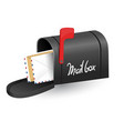 mailboxe with a opened door a raised flag and vector image