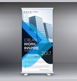 modern standee roll up template design with blue vector image vector image