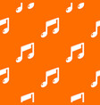 music note pattern orange vector image vector image