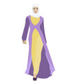 muslim woman in folk clothes islamic religion vector image