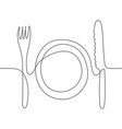 one line drawing of knife fork and plate vector image vector image