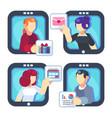 people chatting online together flat poster men vector image