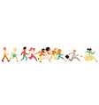 people of different age and gender running in flat vector image vector image
